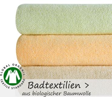 www.bio-naturwelt.de hat eine große Auswahl an Badtextilien aus Bio Baumwolle.