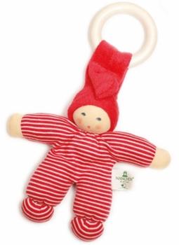 Nanchen Greifling Puppe rot mit Beißring Bio