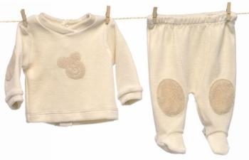 2 tlg Bio Velour Anzug mit verstärkten Knien und Ellenbogen