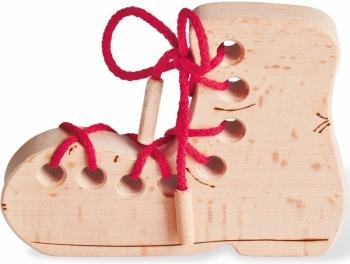 Schuh Fädelspiel Holz unbehandelt