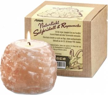Salzkristall Teelicht Kerzenhalter mit Rapswachs