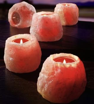 Salzkristall Teelichthalter