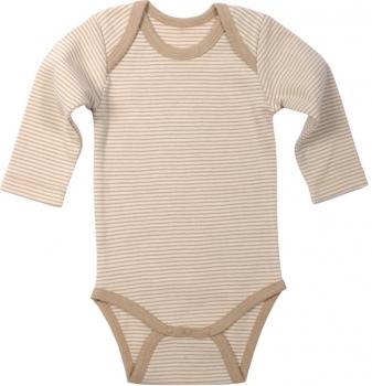 Baby Langarmbody Baumwolle hellbraun geringelt