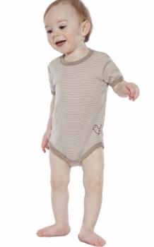 Baby Kurzarmbody  taupe-gestreift kbA