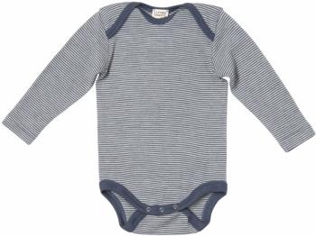 Bio Baby Langarm Body blau-gestreift Wolle Seide
