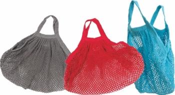Bio Baumwollnetz-Tasche farbig,  kurzer Griff