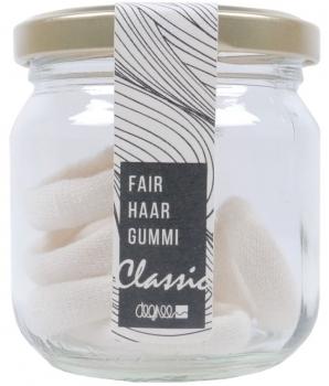 Haargummi aus Bio Baumwolle Ecru 7er