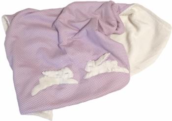 Bio Babydecke Hase Doppelseitig Flieder | Weiße Punkte