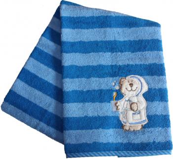 Kinderhandtuch Bär blau-gestreift