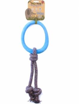 Öko Hunde Zerrspielzeug Seil mit Ring blau