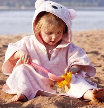 Bio Kinderponcho Bär rosa