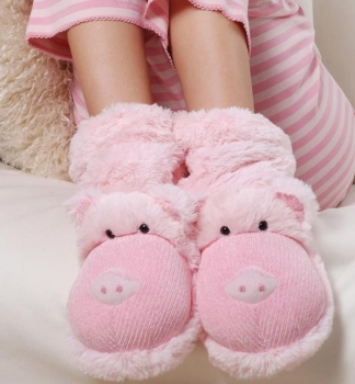 Lustige Tier Hausschuhe Schwein - hoch