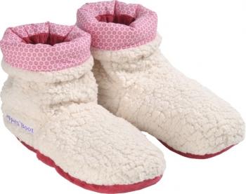 Fußwärmer Wärme Slippies Hot Boots Plüsch weiss-pink